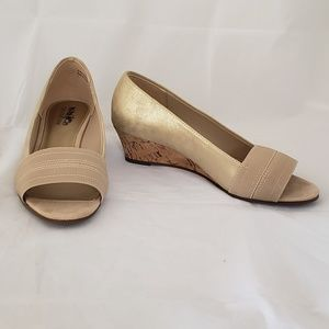 Coach and Four champagne Peep toe cork wedges